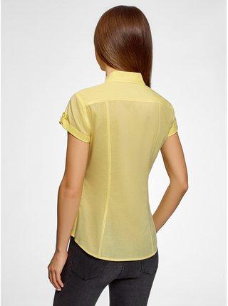 Košeľa bavlnená s vreckami na prsiach OODJI