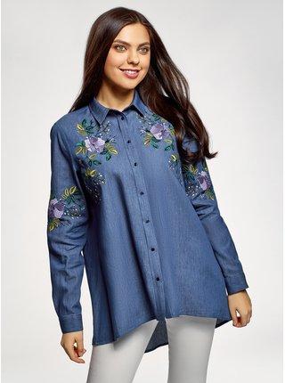 Košeľa džínsová s výšivkou OODJI