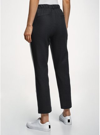 Kalhoty s pružným pasem s lampasy OODJI