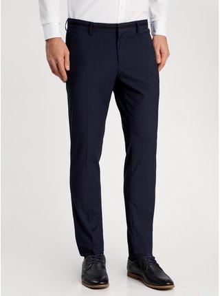 Nohavice klasické slim fit s kontrastnou vložkou v páse OODJI