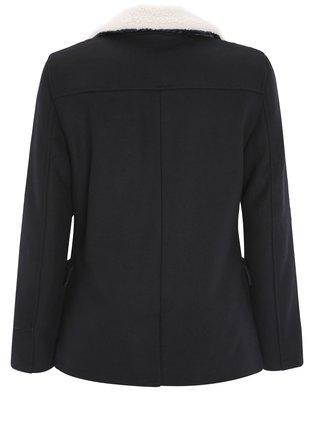 Kabát dvojradový s golierom z umelej kožušiny OODJI