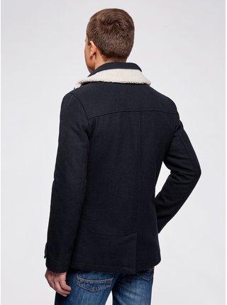 Kabát dvouřadý s límcem z umělé kožešiny OODJI