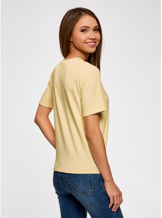 Tričko rovné z materiálu s výraznou texturou OODJI