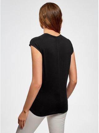 Tričko s okrúhlym výstrihom a ozdobnou výšivkou OODJI