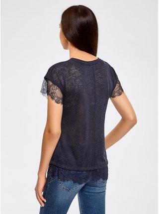Tričko s okrúhlym výstrihom a ozdobené čipkou OODJI