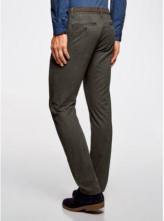 Nohavice typu chinos bavlnené s pásikom OODJI
