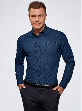 Košile se vzorem s dvojitým límečkem OODJI