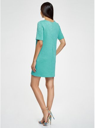 Šaty z materiálu s výraznou texturou rovného střihu OODJI