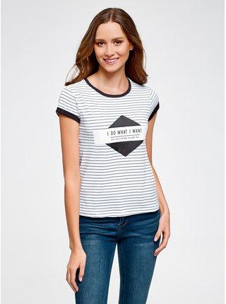 Tričko pruhované s potiskem na prsou OODJI