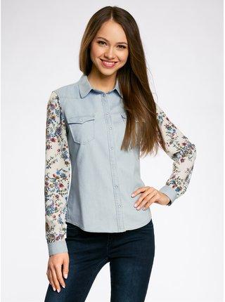 Košile džínová kombinovaná OODJI