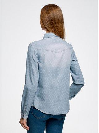 Košile džínová se zapínáním na druky OODJI