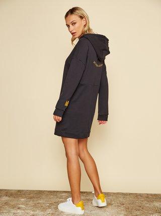 Simpo čierne mikinové šaty