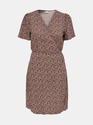 Hnědo-černé květované zavinovací šaty Jacqueline de Yong Staar