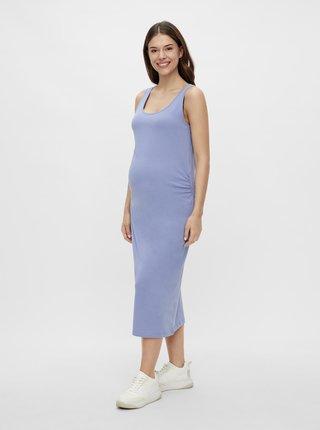 Světle modré těhotenské basic maxišaty Mama.licious Lea