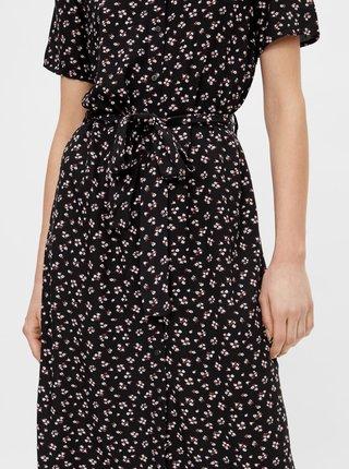 Černé květované košilové midišaty se zavazováním Pieces Cecilie