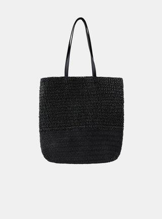 Černý slaměný shopper Pieces Linoaldo