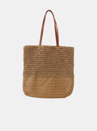 Béžový slaměný shopper Pieces Linoaldo