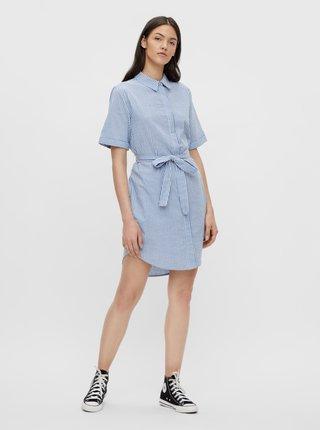 Modré pruhované košeľové šaty Pieces Tampa