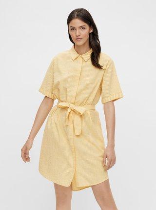 Žlté pruhované košeľové šaty Pieces Tampa