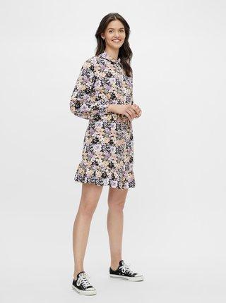 Černo-fialové květované košilové šaty Pieces Dansi