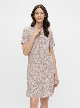Žlto-fialové kvetované košeľové šaty Pieces Rilla