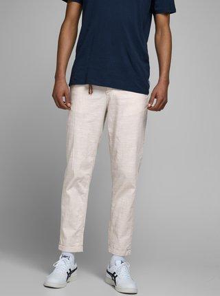 Krémové nohavice s prímesou ľanu Jack & Jones Ace