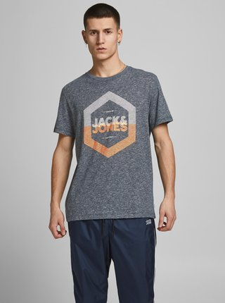 Tmavomodré tričko s potlačou Jack & Jones Delight