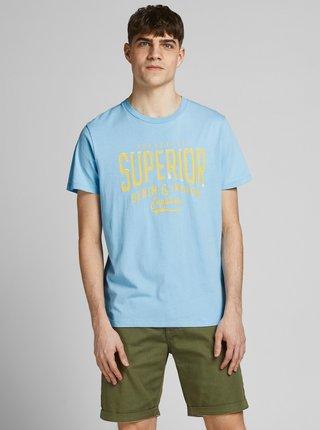 Svetlomodré tričko s potlačou Jack & Jones Jones