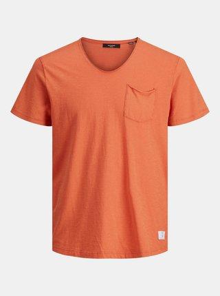 Oranžové tričko s vreckom Jack & Jones Feel