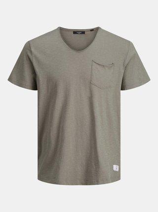 Khaki tričko s kapsou Jack & Jones Feel