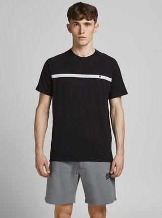 Čierne tričko s potlačou Jack & Jones Taped