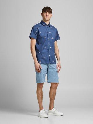 Modrá vzorovaná košeľa Jack & Jones Playa