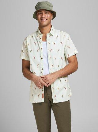 Svetlozelená vzorovaná košeľa Jack & Jones Playa