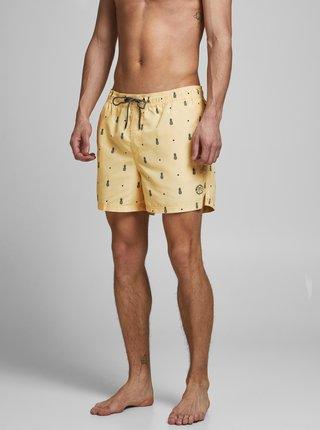 Žluté vzorované plavky Jack & Jones Bali