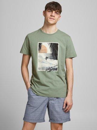 Zelené tričko s potlačou Jack & Jones Tahoe