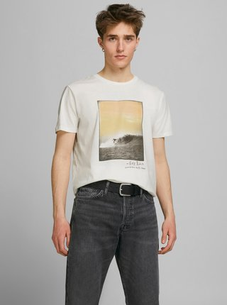 Krémové tričko s potiskem Jack & Jones Tahoe