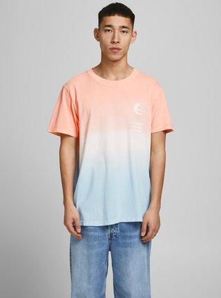 Modro-oranžové tričko s potlačou Jack & Jones Alooha