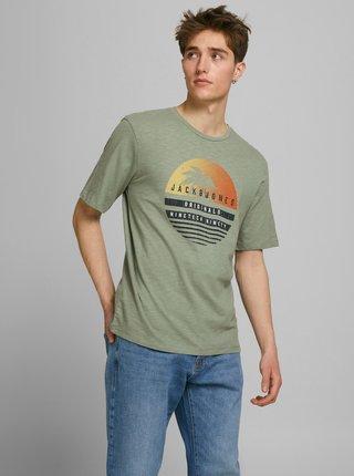Zelené tričko s potiskem Jack & Jones Laguna