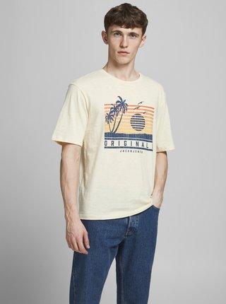 Krémové tričko s potiskem Jack & Jones Laguna