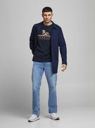 Tmavě modré tričko s potiskem Jack & Jones Laguna