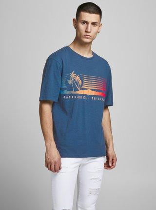 Modré tričko s potiskem Jack & Jones Laguna