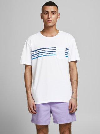 Bílé tričko s potiskem Jack & Jones Shibori