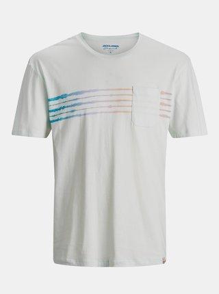 Mentolové tričko s potiskem Jack & Jones Shibori