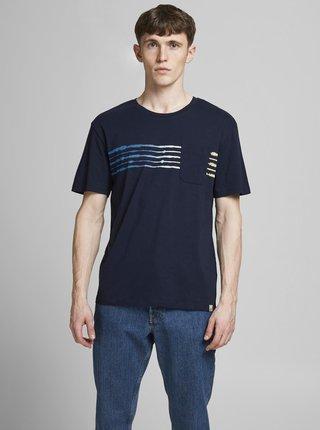 Tmavě modré tričko s potiskem Jack & Jones Shibori