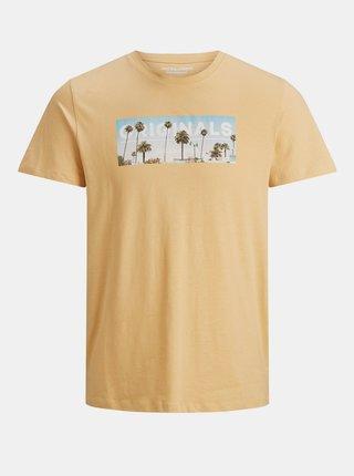 Žluté tričko s potiskem Jack & Jones Azure