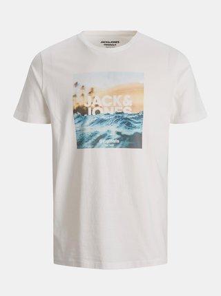 Krémové tričko s potiskem Jack & Jones Azure