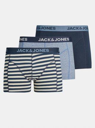 Sada tří modrých boxerek Jack & Jones Boey