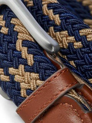 Hnědo-modrý pásek s koženými detaily Jack & Jones Spring