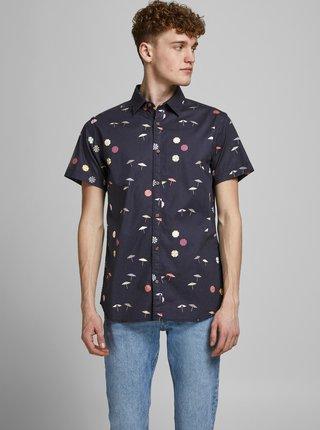 Tmavomodrá vzorovaná košeľa Jack & Jones Playa