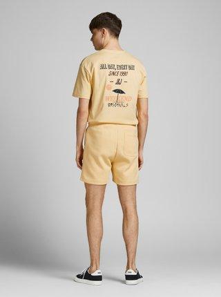 Žlté tričko s potlačou na chrbte Jack & Jones Vibes